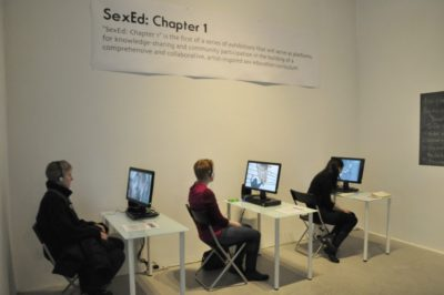 Video viewing stations from SexEd: Chapter 1 exhibition. Photo by Eric Nadler.