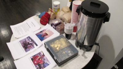 Zapatista-grown coffee and sample currencies at Parallel Fields: Alternative Economies, January 14, 2015.