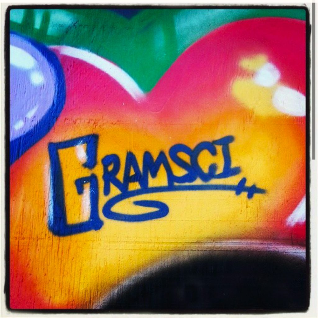 Gramsci Radio graffiti by artists Kenji and X-Men, courtesy of the author.