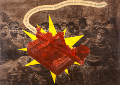 October Revolution Telegraph, Acrylic and Xerox transfer, 33 x 46 in., 2011.