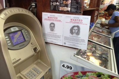 Wanted, community-based project: performance, meetings, Wanted posters, 2014. Wanted is a community-based art project that addresses the criminalization of youth, particularly Black and Latino youth, in America. Fake wanted posters were created for non-illegal activity that the police routinely harass the youth for. These were posted in shop windows in Harlem, NY.