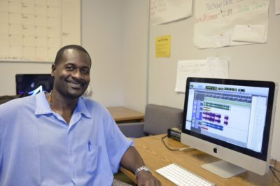 Greg Eskridge in the San Quentin Media Lab. Photo by Nigel Poor.