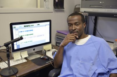 Shadeed Wallace Stepter in the San Quentin Media Lab. Photo by Nigel Poor.