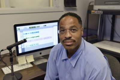 Tommy Shakur Ross in the San Quentin Media Lab. Photo by Nigel Poor.