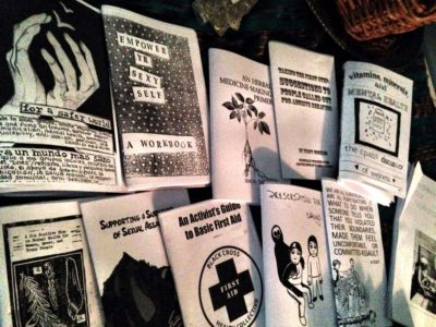 Radical Self and Community Care zines in the Harriet's Apothecary library, Spring 2013. Photo: Adaku Utah