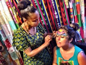 Dimitrea Tokunbo adorning with intuitive sacred divination face paint, Harriet's Apothecary, Summer 2014 Edition. Photo: Adaku Utah