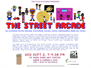 Flyer for The Street Arcade at Hyde Park Art Center, September 2, 2015.
