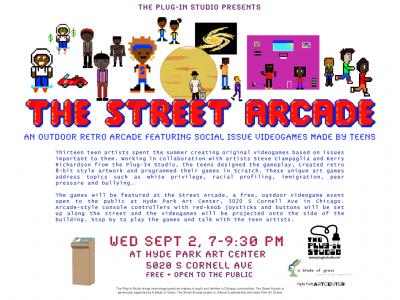 Flyer for The Street Arcade at Hyde Park Art Center, September 2, 2015.