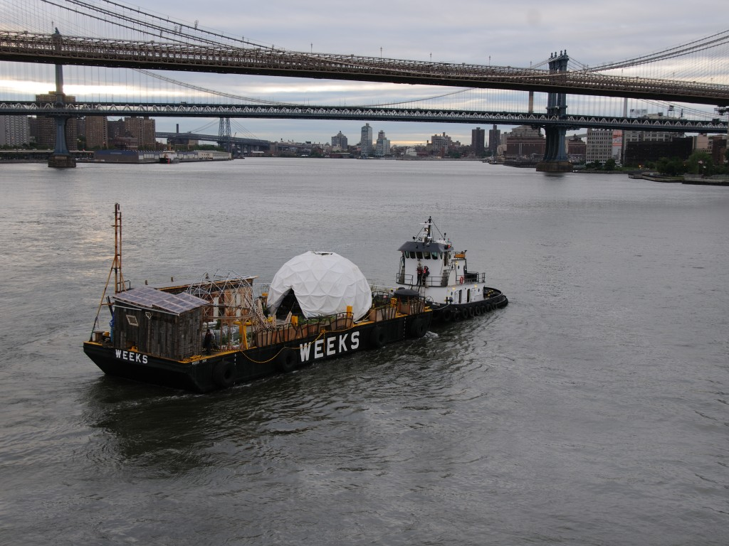 Waterpod (2009) was a floating, sculptural, eco-habitat by Mary Mattingly and collaborators that toured NYC waterways in the summer of 2009. Photo by Mary Mattingly.