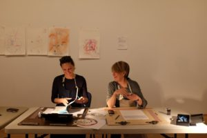 Andrea Bowers and Suzanne Lacy: Drawing Lessons, 2014. Photo by James Wang.