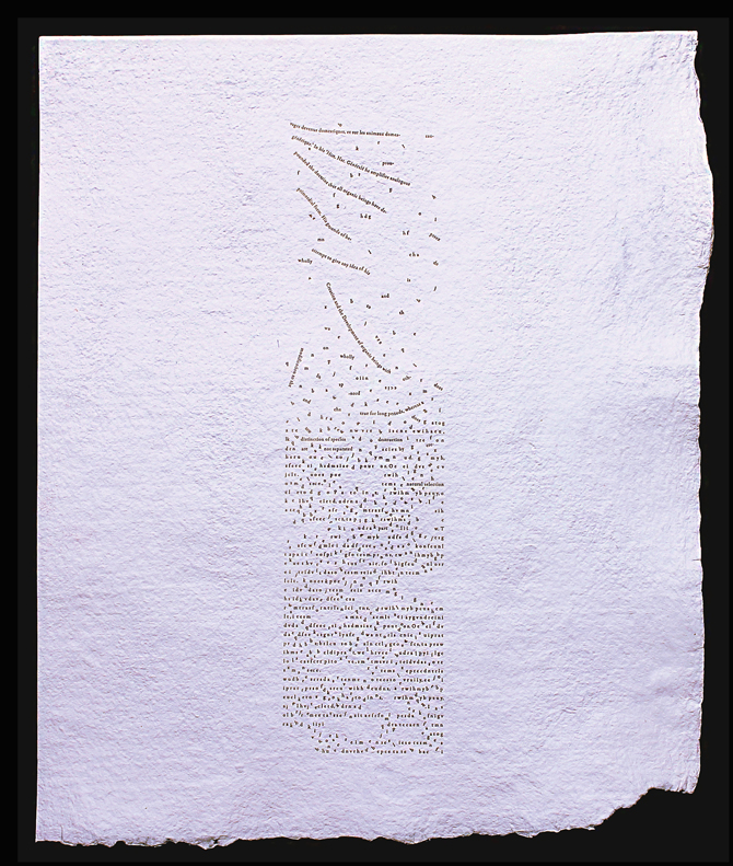Origin or Decay, letterpress printed, hand made paper, unbound, 11 × 17 in., 2016. Courtesy the artist.