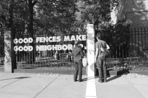 Good Fences, Good Neighbors?, wood, 12 x 12 in. each character, Clinton Hill, Brooklyn, NY, 2012. Courtesy the artist.