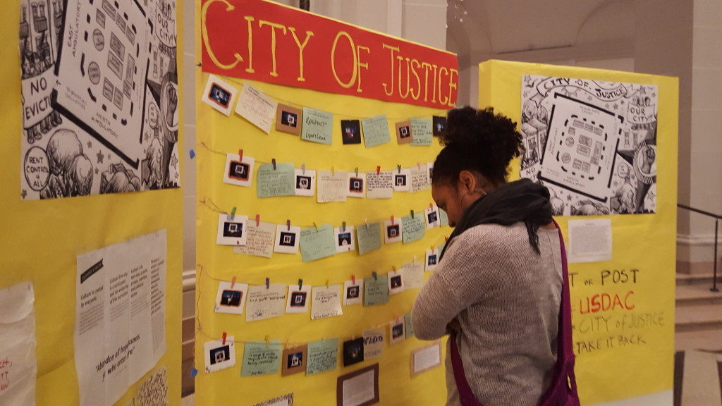 Participatory art-making station as part of City of Justice, curated by Betty Yu, Brooklyn Museum, January 2, 2016. Courtesy the artist.
