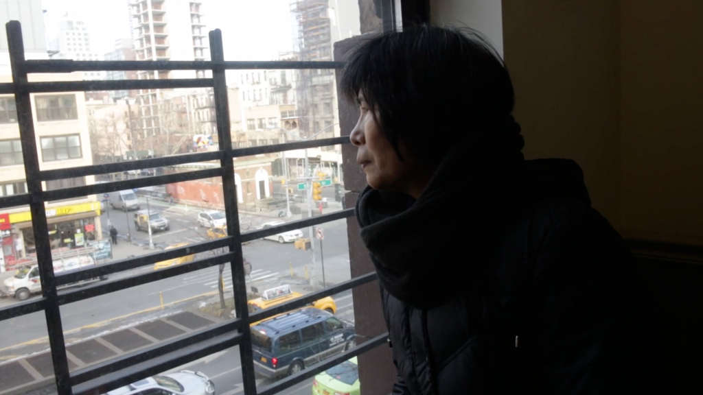 Film still from Mrs. Zheng on Delancey, from the Chinatown Tenant Stories video series; a short film about a tenant organizer and longtime resident of Delancey Street, Chinatown. Courtesy the artist.