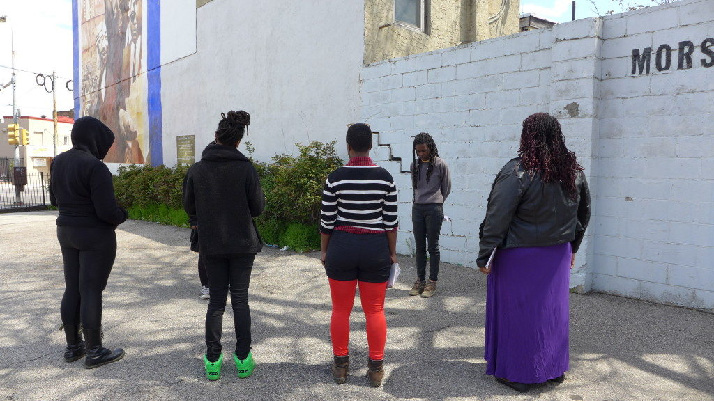 BQF Experimental Workshop mini-retreat during residency at Neighborhood Time Exchange Studios, Philadelphia, April 2015. Workshops included site poetry and Anthropology of Consciousness, led by Camae Ayewa, and Quantum Event Mapping and Speculative Fiction and the Unknown, led by Rasheedah Phillips. Courtesy the artists.