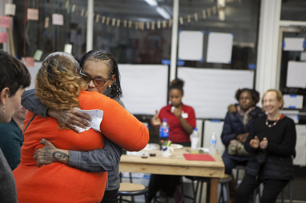 The People's Paper Co-op is a women-led, women powered art and advocacy group. Run by Faith Bartley, a former prisoner, the PPC works with women from Philadelphia Half-way Houses to co-produce advocacy events and publications, while co-running a paper-making business. Photo: The People's Paper Co-op