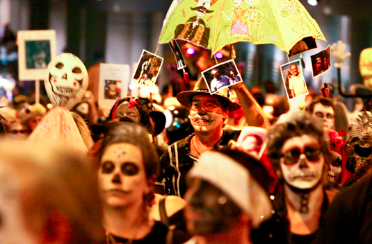 "A 2011-12 PLACE III grantee, the All Souls Procession is ""an independently produced, hyper-inclusive, non-motorized, participant-based procession and ceremony to honor those who have passed"" in Tucson, AZ. Photo courtesy the author."