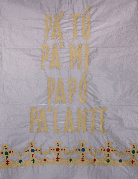 PA'TU PA'MI PAPI PA'LANTE, 2010, screen print on tissue paper. Courtesy the artist.