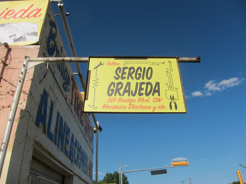 Higher Sails sign for Sergio Grajeda Mechanic, Albuquerque, NM, 2015, digital print in dibond. Courtesy the artist.