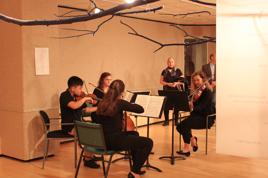 String Quartet Coda performance with the Blued Trees Symphony installation in Perspective Gallery, Virginia Tech. Photo: Robin Boucher, 2016