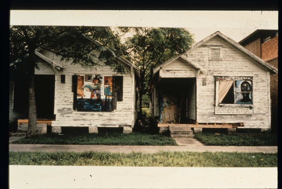"Installations by Ron Smith (left) and Isreal Mccloud (right) in the exhibition ""Drive-By,"" 1994. Photo: Rick Lowe"