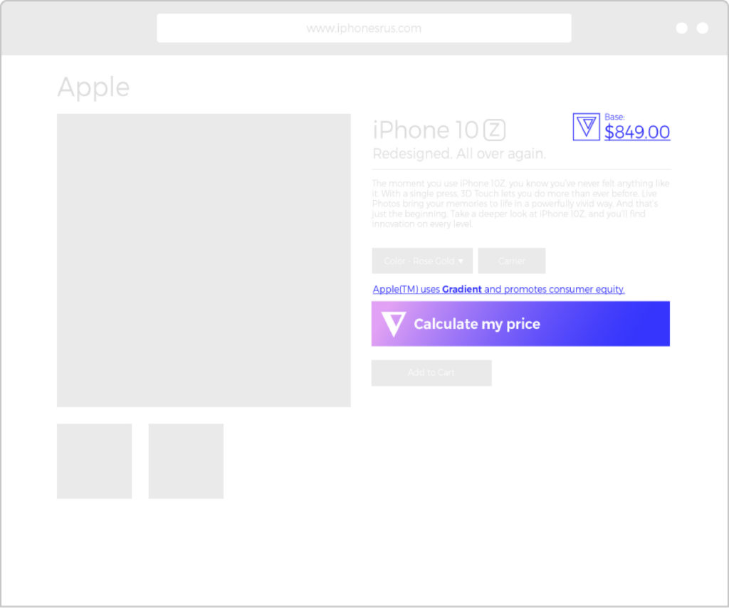 Early stage design mockup for Gradient as an e-commerce plugin. Image: Hello Velocity