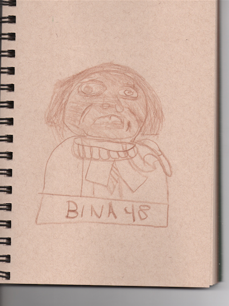 Student drawing of Bina48. Courtesy the artist.