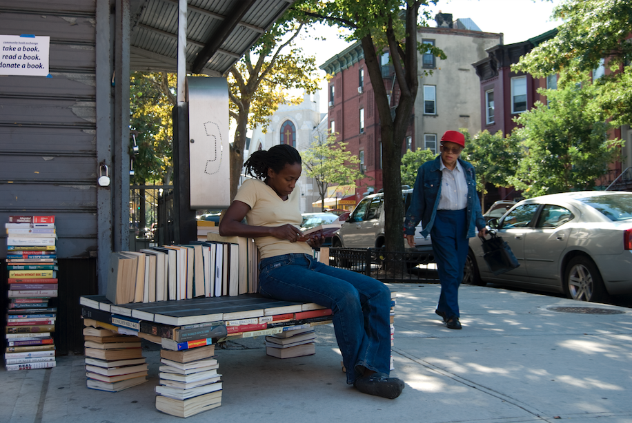Stephanie Dinkins, Book Bench, 2007. Courtesy the artist.