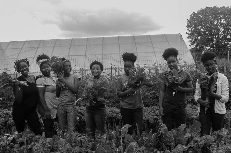Our Mothers' Kitchens Camp at Sankofa Community Farm in Southwest Philadelphia, 2017. Photo: Gabrielle Clark.