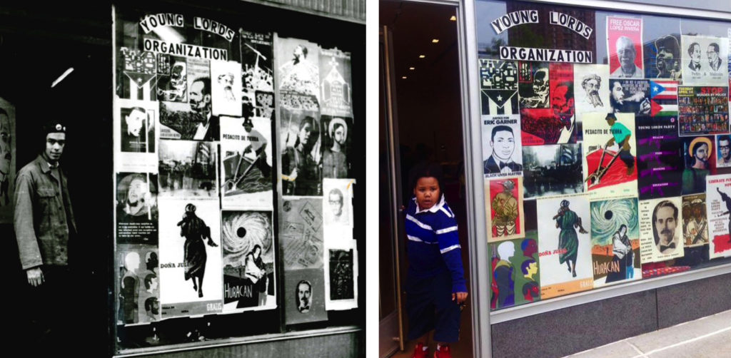 Recreation of the original storefront window of the Young Lords Party in East Harlem, 2015