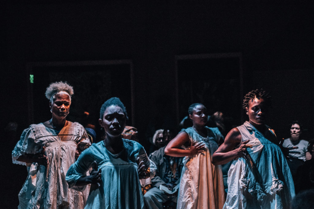 "House/Full of Blackwomen Episode: ""passing/through/the great middle,"" ritual performance at East Side Arts Center, February 2018. Photo by Robbie Sweeny."