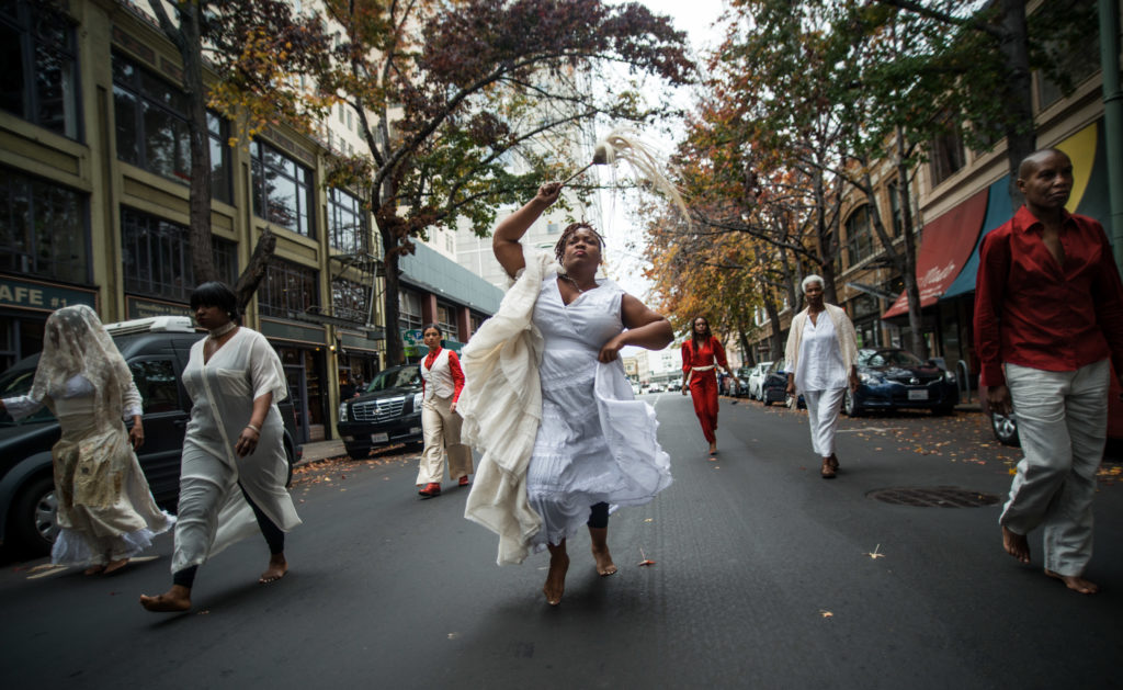 "House/Full of Blackwomen Episode: ""We Are Here To Stay,"" a ritual procession on the streets of downtown Oakland in honor of Home-fullness, November 2015. Photo by Robbie Sweeny."
