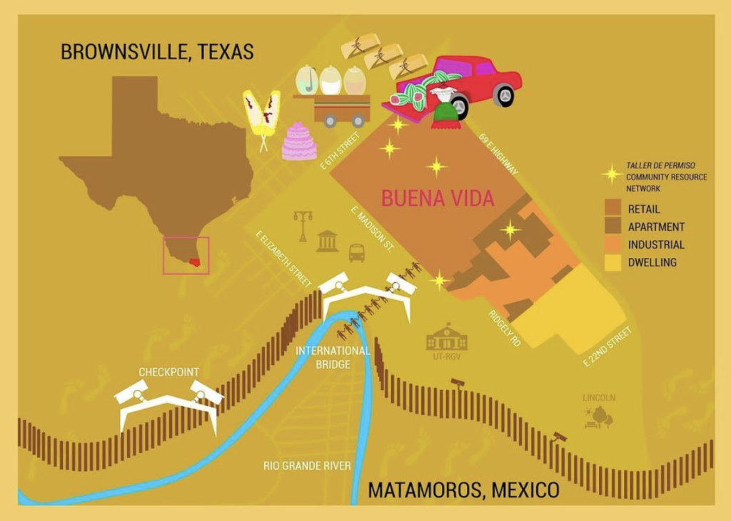Brownsville area map highlighting Buena Vida neighborhood, courtesy Las Imaginistas