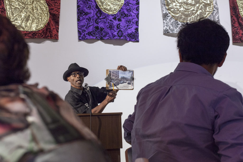 "Walter Fears performing in ""What Fuels Development?"" at the ARMORY Center for the Arts, Pasadena, 2016. Photo by Monica Nouwens © Los Angeles Poverty Department."