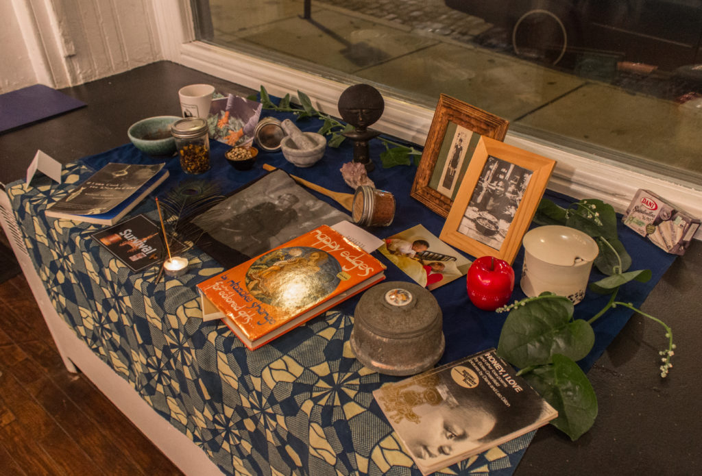 Altar for Ntozake Shange at the dinner. Photo by Gabrielle Clark.