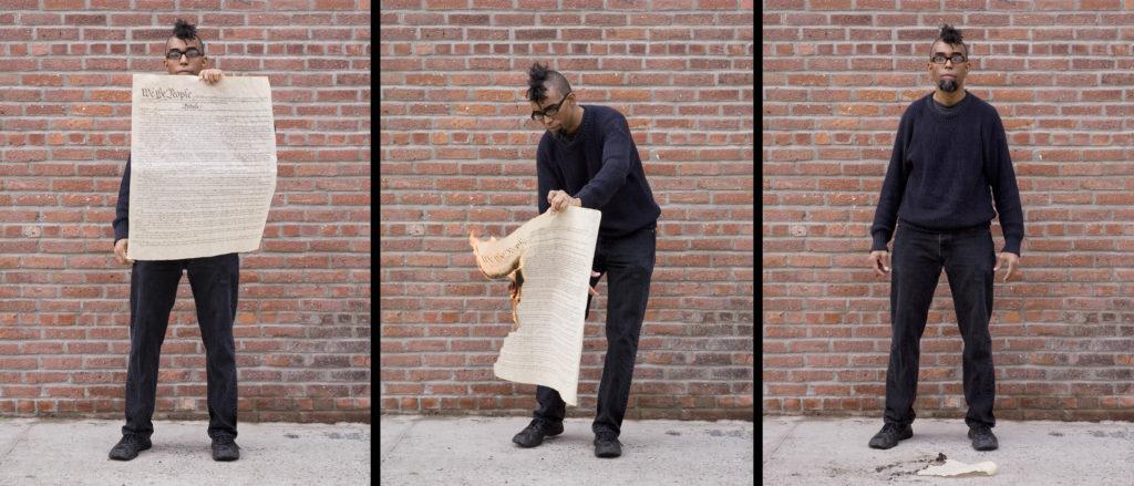 "Dread Scott, Burning the US Constitution, 3 pigment prints, each print 26"" x 20,"" 2011. Courtesy the artist."