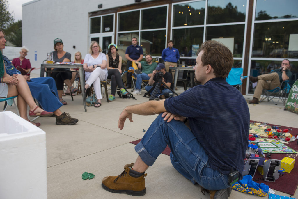 After a Civil War reenactment scene in Good Old Boys, actor Derek Roguski pauses the performance, held outside a local brewery, to facilitate a conversation with the audience about the impact the Civil War had on people in the region. Photo by Pat Jarrett.