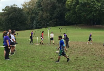 Quidditch players in Prospect Park, Brooklyn, NY. Photo by Deborah Fisher.