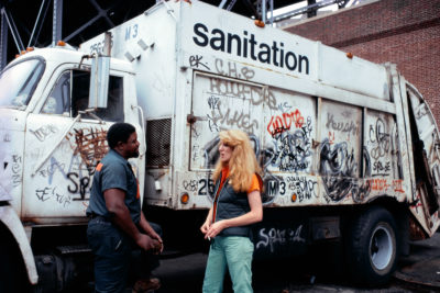 Mierle Laderman Ukeles Touch Sanitation Performance, July 24, 1979–June 26, 1980 Citywide performance with 8,500 Sanitation workers across all fifty-nine New York City Sanitation districts. Sweep 3, Manhattan 3. Photo by Robin Holland, date unknown Courtesy the artist and Ronald Feldman Gallery, New York