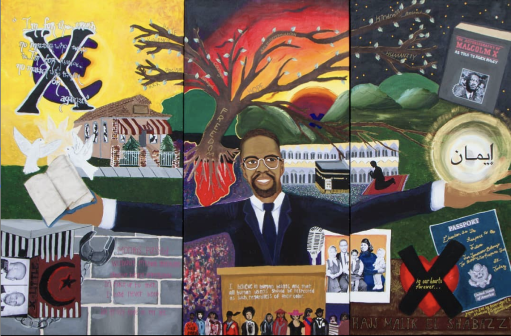 """Tribute to Hajj-Malik El Shabazz, Malcolm X,"" 3-panel mural created and exhibited in the MXMF Center, Omaha NE. Gabrielle Gaines-Liwaru and Beveridge Middle School students. Photo by Terrance Tryon."
