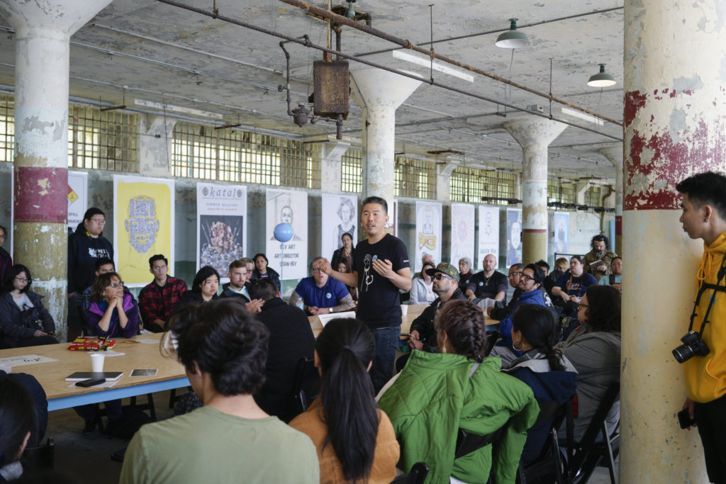 A roundtable discussion led by Future IDs collaborator and artist Kirn Kim as part of the series of public programs coinciding with the exhibition of ID-inspired artworks on Alcatraz Island. Photo by John Contreras.