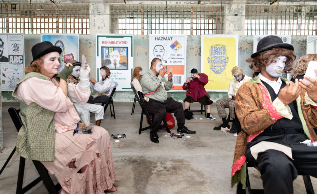 The Actors' Gang Prison Project, one of the community partners of Future IDs at Alcatraz, showcases an improvised theatrical performance at one of the monthly public programming events to coincide with the Future IDs exhibition. Photograph by Peter Merts.