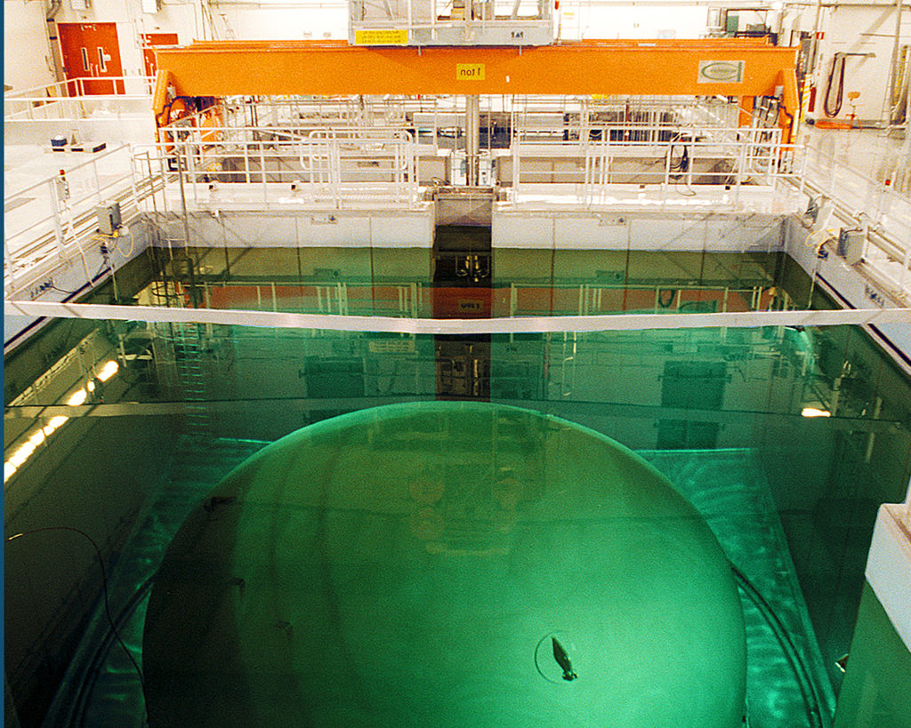 A nuclear reactor pool in the now-closed Barsebäck Kraft nuclear power plant in Sweden. Photo by Knut-Erik Helle.