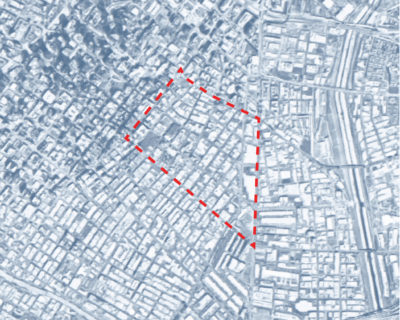 Map of Downtown Los Angeles depicting the fifty square blocks that make up Skid Row.