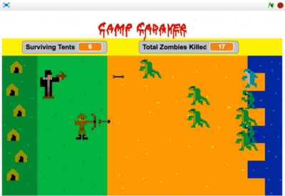 Still from Camp Cadaver, a videogame created by a participant in The Plug-In Studio 8-Bit Videogame Lab at Hyde Park Art Center. Photo by Steve Ciampaglia.