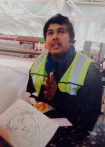 Mishu, who has an MA in social development from the University of Dahka, Bangladesh, works as a janitor at JFK airport. He tries to work on independent projects every fifteen days. Photo: Gabriela Ceja