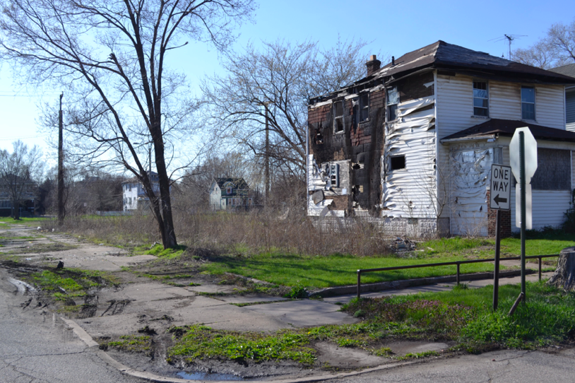 Community Lab Orchard potential site in the Emerson neighborhood of Gary, Indiana, 2016. The prototype community orchard is part of the Fruit Futures Initiative Gary, a program to explore fruit-growing in Gary, Indiana. Image: Frances Whitehead