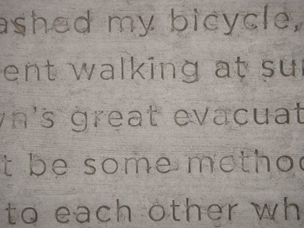 Detail of a poem by Anna Everett Beek, installed as part of Everyday Poems for City Sidewalk.