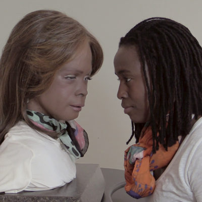 Stephanie Dinkins attempts to become friends with Bina48. Bristol Vermont, January 2015  (Video Still)
