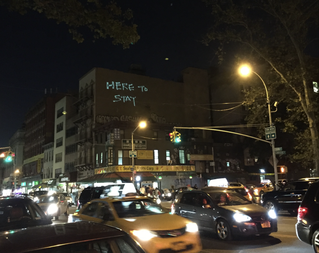 Chinatown Art Brigade, Here to Stay Projection Night, September 2016, Chinatown Manhattan. Photo: Joelle Te Paske